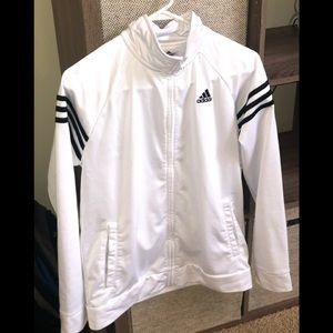 Adidas white zip with 3 black stripe sz boys 18/20